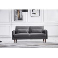 See Details - 8151 DARK GRAY Linen Stationary Basic Sofa
