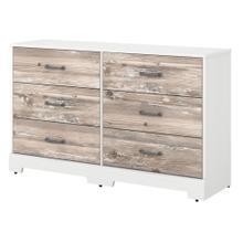 River Brook Bedroom 6 Drawer Dresser - White Suede Oak/Barnwood
