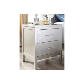 Two Drawer Night Stand - Silver Gray