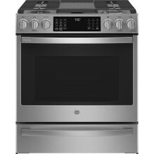"""See Details - GE Profile 30"""" Dual Fuel Slide-In Range with Wifi Stainless Steel - PC2S930YPFS"""