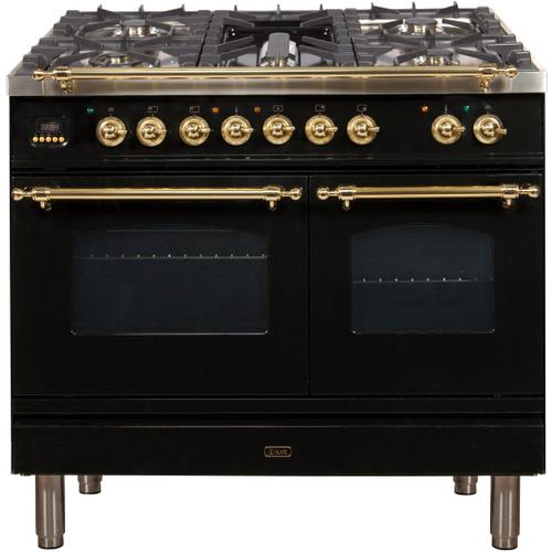 Nostalgie 40 Inch Dual Fuel Liquid Propane Freestanding Range in Glossy Black with Brass Trim
