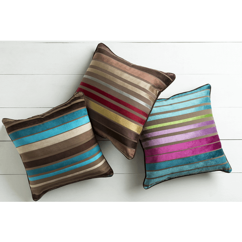 "Velvet Stripe JS-024 22"" x 22"" Pillow Shell with Polyester Insert"