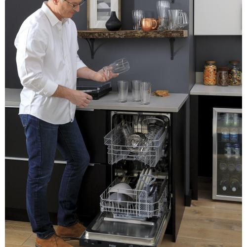 """Haier 18"""" Stainless Steel Interior Dishwasher with Sanitize Cycle"""