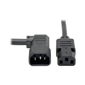 Heavy Duty PDU Power Cord, C13 to Right Angle C14 - 15A, 250V, 14 AWG, 10 ft., Black