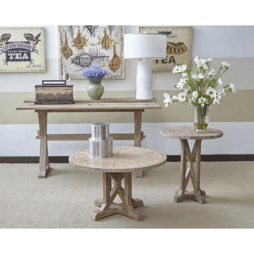"""Pacfic Heights 32"""" Round Pedestal Cocktail Table- Bisque"""