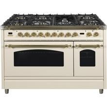Nostalgie 48 Inch Dual Fuel Natural Gas Freestanding Range in Antique White with Brass Trim