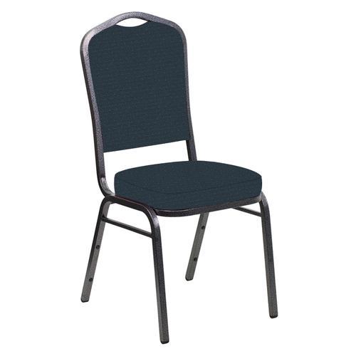 Crown Back Banquet Chair in Venus Blue Azure Fabric - Silver Vein Frame