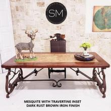 "View Product - Upscale Executive Desk Mesquite w/ Travertine Inset  Rectangular - 1206R - 72"" x 42"" / Dark Rust Brown"
