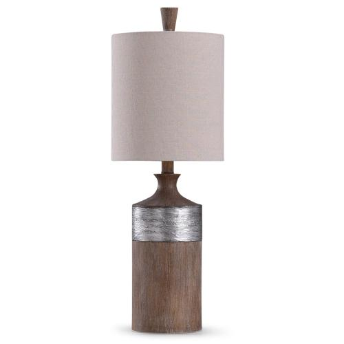 Style Craft - Darley  26in Traditional Resin Table Lamp with Textured Silver Painted Accent  60W  3-Way