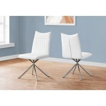 """See Details - DINING CHAIR - 2PCS / 36""""H / WHITE LEATHER-LOOK / CHROME"""