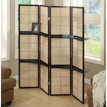 FOLDING SCREEN - 4 PANEL / ESPRESSO / 2 DISPLAY SHELVES