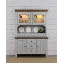 DLU-CG-BH-GO  Buffet and Hutch  Distressed Gray and Brown Wood