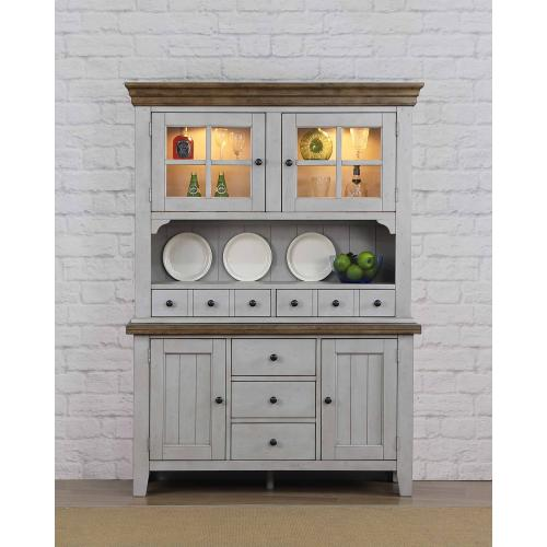 Buffet and Hutch - Distressed Gray & Brown