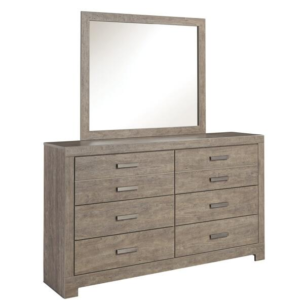 See Details - Queen/full Panel Headboard With Mirrored Dresser, Chest and 2 Nightstands