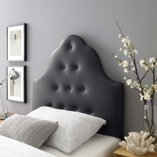 Sovereign Twin Upholstered Vinyl Headboard in Black