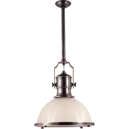 Visual Comfort CHC5136BZ-WG E. F. Chapman Country Industrial 1 Light 20 inch Bronze Pendant Ceiling Light in White Glass