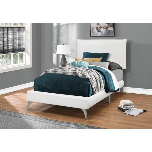 Gallery - BED - TWIN SIZE / WHITE LEATHER-LOOK WITH CHROME LEGS
