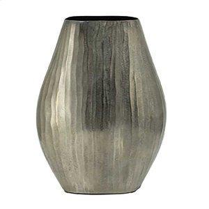 Aluminum Layered Chisel Oval Vase