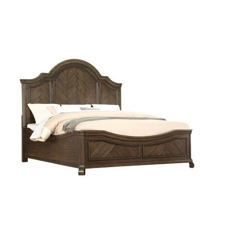 Emerald Home Knoll Hill Queen Bed Curved Footboard Walnut Brown B553-10fb