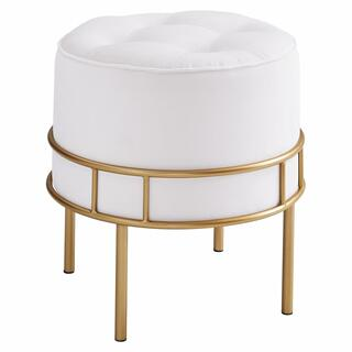 Lorient Velvet Fabric Tufted Round Ottoman, Serene Light Cream/ Gold