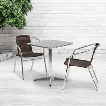 See Details - 23.5'' Square Aluminum Indoor-Outdoor Table Set with 2 Dark Brown Rattan Chairs