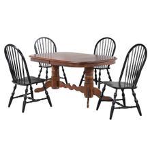 See Details - Double Pedestal Dining Set w/Windsor Chairs - Chestnut & Antique Black (5 Piece)