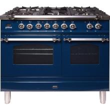 View Product - Nostalgie 40 Inch Dual Fuel Natural Gas Freestanding Range in Blue with Chrome Trim
