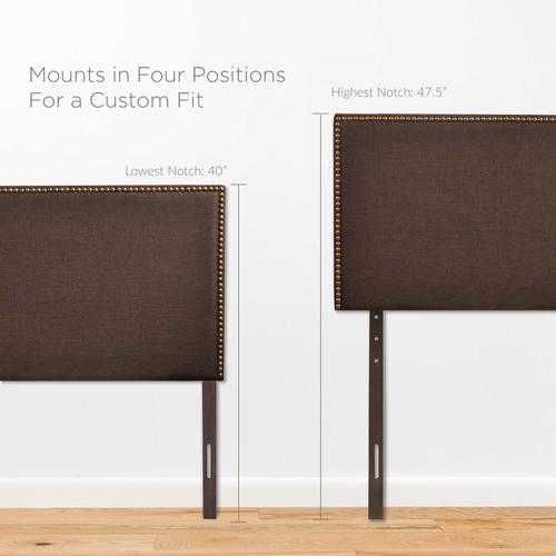 Modway - Region Nailhead Queen Upholstered Headboard in Dark Brown