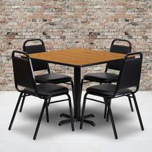 Product Image - 36'' Square Natural Laminate Table Set with X-Base and 4 Black Trapezoidal Back Banquet Chairs