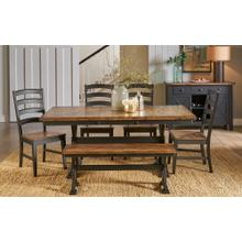 See Details - Gathering Height Trestle Table with Bench and 4 Chairs