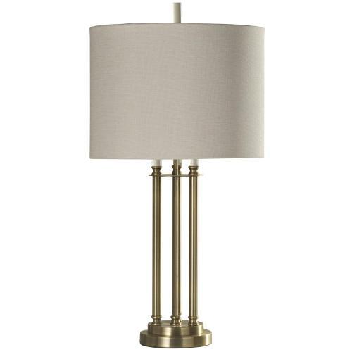 L312065  Three Column Metal Brass Table Lamp with Hardback Shade