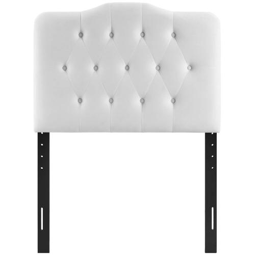 Annabel Twin Diamond Tufted Performance Velvet Headboard in White