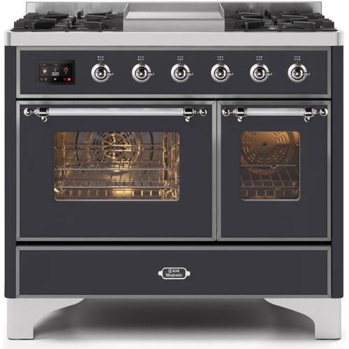 Majestic II 40 Inch Dual Fuel Natural Gas Freestanding Range in Matte Graphite with Chrome Trim