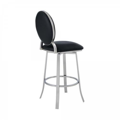 """Pia Contemporary 30"""" Bar Height Barstool in Brushed Stainless Steel Finish and Black Faux Leather"""