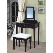 Contemporary Wood Makeup Vanity with Mirror and Bench Espresso Finish