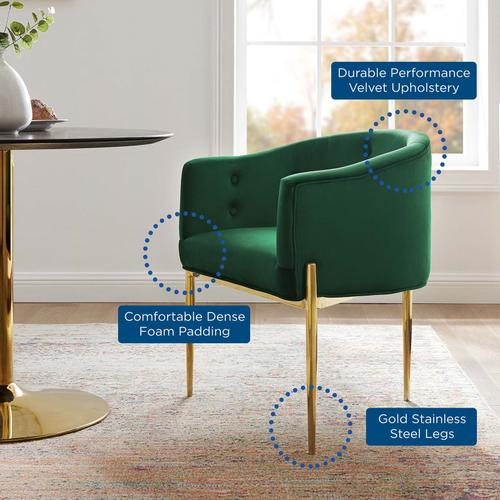 Savour Tufted Performance Velvet Accent Chair in Emerald