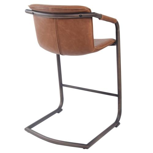 Indy PU Counter Stool w/ Arms Rubbed Gold Frame, Antique Cigar Brown