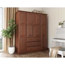 5963 - 100% Solid Wood Family Wardrobe, Mocha. No Shelves Included