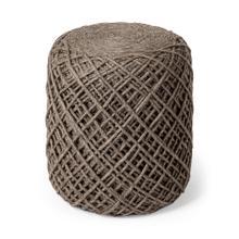 See Details - Allium Pouf Brown Wool Diamond Pattern Cylindrical Pouf