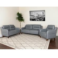 Newton Hill Upholstered Bustle Back Chair, Loveseat and Sofa Set in Gray LeatherSoft