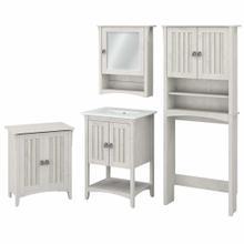 See Details - 24W Bathroom Vanity Sink with Mirror, Over Toilet Storage and Hamper, Linen White Oak