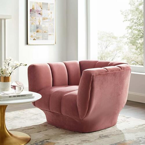 Entertain Vertical Channel Tufted Performance Velvet Armchair in Dusty Rose