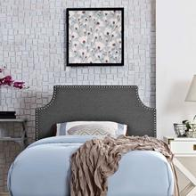 See Details - Laura Twin Upholstered Fabric Headboard in Gray