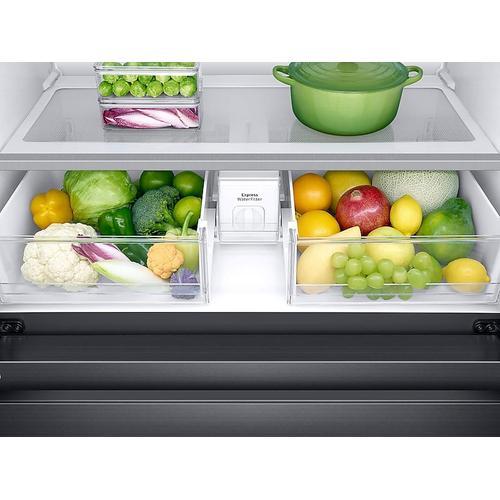 Samsung - 22 cu. ft. Family Hub™ Counter Depth 4-Door French Door Refrigerator in Black Stainless Steel