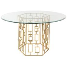 """Alexandra 54"""" Gold Leaf Glass Dining Table - Gold"""