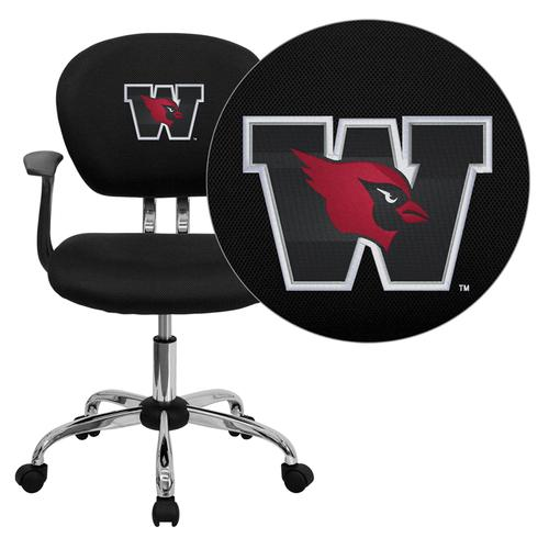Wesleyan University Cardinals Embroidered Black Mesh Task Chair with Arms and Chrome Base