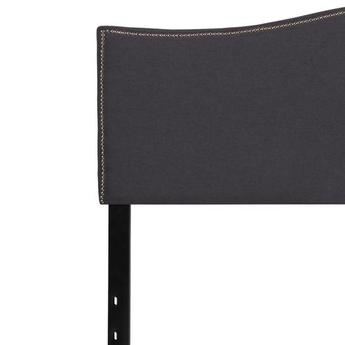 Flash Furniture - Lexington Upholstered King Size Headboard with Accent Nail Trim in Dark Gray Fabric