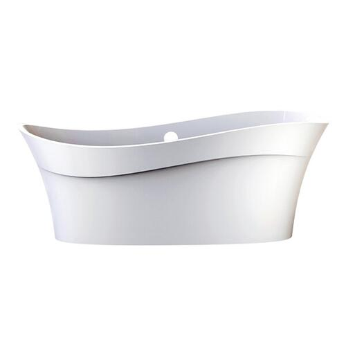 Pescadero LH 66-3/4 Inch X 31-3/8 Inch Freestanding Soaking Bathtub in Volcanic Limestone™ with Overflow Hole - Gloss White