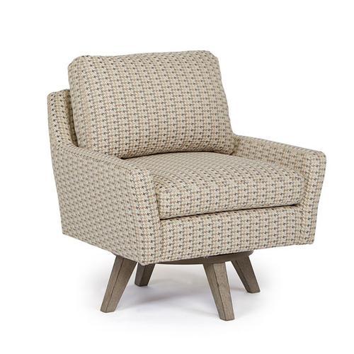 SEYMOUR Swivel Barrel Chair in Metal Fabric