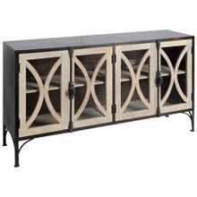 Constance II 62x17 Dark Brown Metal W/ Light Brown Solid Wood 4 Wood/Glass Cabinet Door Sideboard